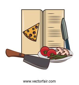 Pizza menu with ingredients and knives utensils