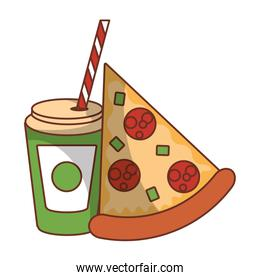 Fast food pizza and soda cup with straw isolated icon