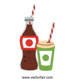 Cola soda bottle and cup to go with straw isolated icons