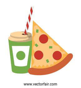 Fast food pizza and soda cup with straw