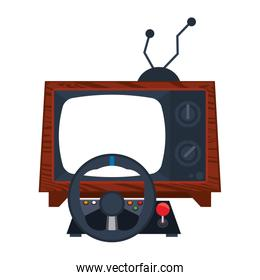 Retro videogame steering wheel gamepad with old tv