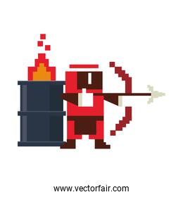 Videogame pixelated ninja with arch and barrel in fire