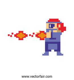 Videogame pixelated gangster shooting with handgun