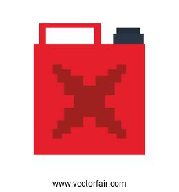 Videogame pixelated fuel can isolated symbol