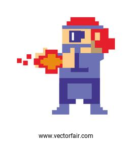 Videogame pixelated gangster shooting with gun