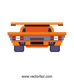 Videogame pixelated racing car frontview symbol