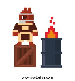 Videogame pixelated ninja on box with barrel in fire