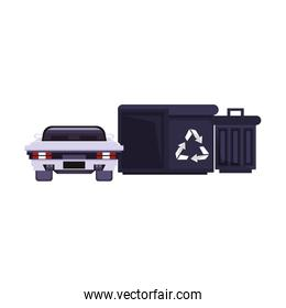 Videogame pixelated scenery car and trash cans