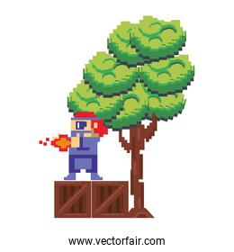 Videogame pixelated character in scenery