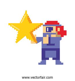 Videogame pixelated gangster character isolated