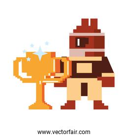 Videogame pixelated character with trophy cup