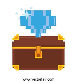 Videogame pixelated chest with diamond