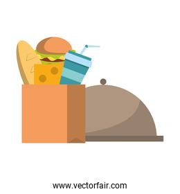Food in paper bag and dish dome symbol