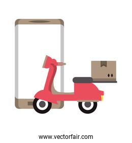 Online delivery service scooter with box