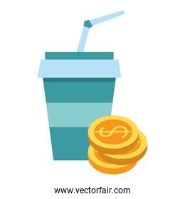 Drink soda cup with coins stacket symbol
