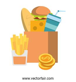 Food in paper bag and french fries with coins