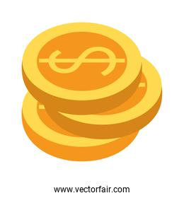 Money coins stacked isolated symbol