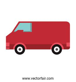Delivery van vehicle sideview isolated symbol