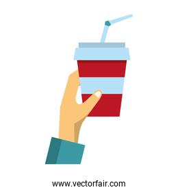 Hand grabbing soda cup with straw