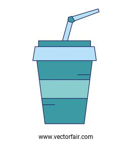 Soda drink cup with straw blue lines