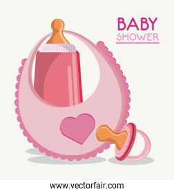 baby shower card with Baby bottle bib and pacifier