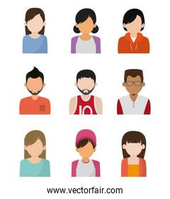 Set of people faceless characters icons