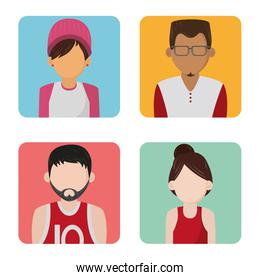 Set of people faceless characters cartoons