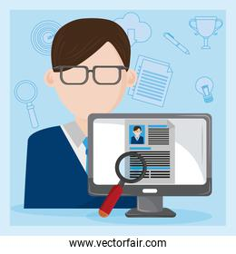Job interview computer with checking worker CV profile