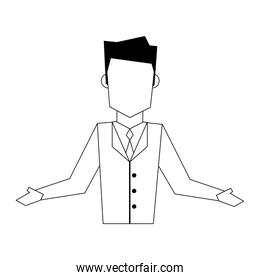 executive business corporate man cartoon in black and white