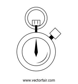 chronometer time sport clock cartoon in black and white