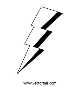 thunder energy electric power cartoon in black and white