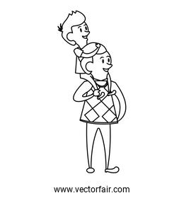 fathers day family celebration cartoon in black and white