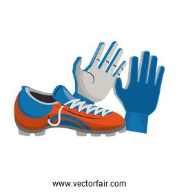Soccer football boots and gloves sport equipment