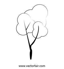 Autumn season tree nature cartoon isolated in black and white