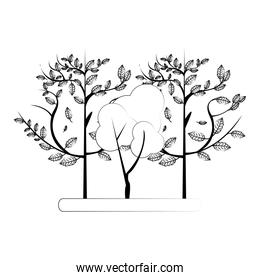 Autumn season trees and leaves nature cartoon in black and white