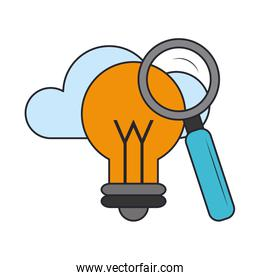 bulb light with cloud isolated icon