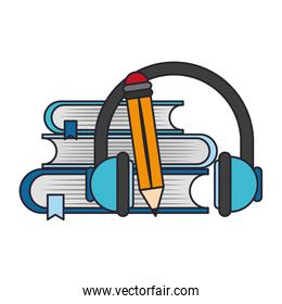 books and headphones isolated icon