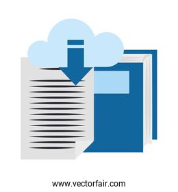 book and cloud storage icon