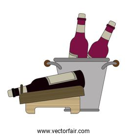 wine holder and ice bucket with bottles design
