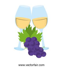 wineglass and bunch of grapes icon image, flat design