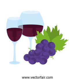 wine glasses and bunch of grapes design