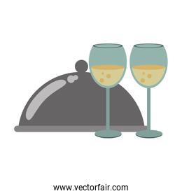 platter and wineglass icon image, flat design