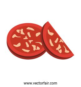 pepperoni slices over white background