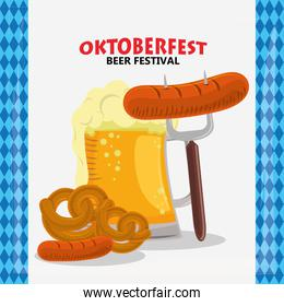 oktoberfest celebration poster with beer and sausages