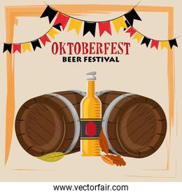 oktoberfest celebration poster with beer barrels