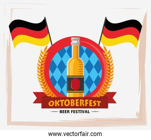 oktoberfest celebration poster with beers bottles