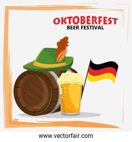 oktoberfest celebration poster with beer and hat