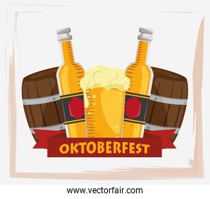 oktoberfest celebration poster with beers jars and barrels