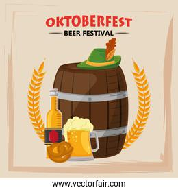 oktoberfest celebration poster with beer barrel and hat