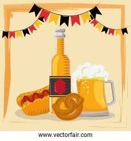 oktoberfest celebration poster with beer and hot dog